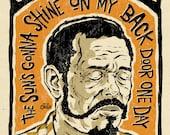 "Brownie McGhee Poster- signed by Grego - digital - Blues folk art - big 12""x18"" - mojohand.com"