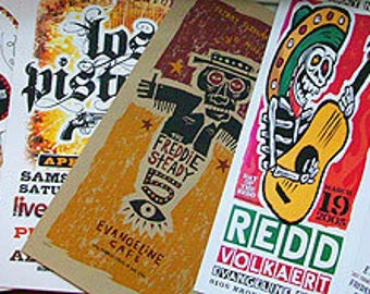 Grab bag - 7 assorted Austin TX gigposters by Grego of mojohand.com - concert posters