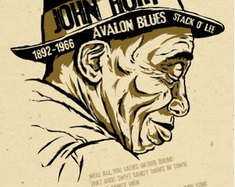 "Mississippi John Hurt  Poster- signed by Grego - digital - blues folk art - big 12""x18"" - mojohand.com"
