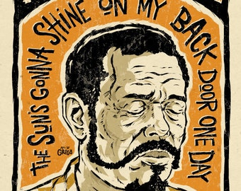 "Brownie McGhee Poster- signed by Grego - digital - Blues folk art - big 12""x18"" - mojohand.com"