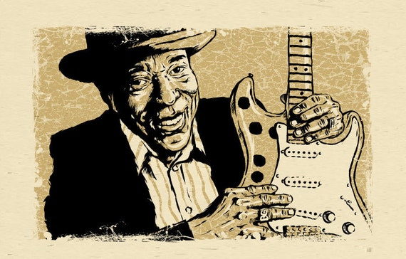 "Buddy Guy poster - Chicago Blues guitar art 12""x18"" - signed by the artist"