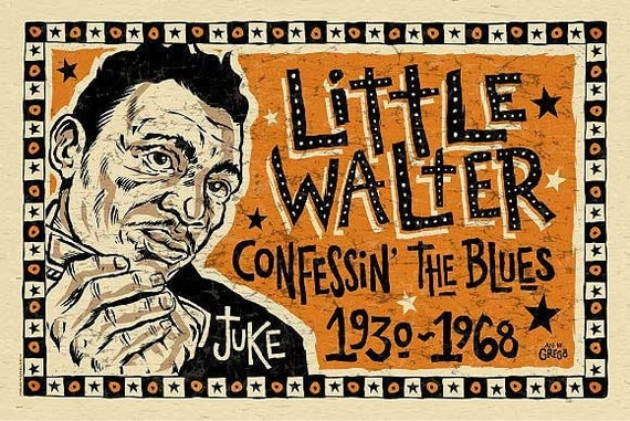 Little Walter Poster- signed by Grego - blues folk art - mojohand