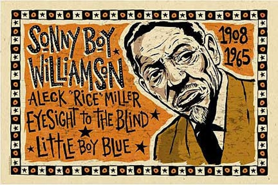 Sonny Boy Williamson Poster- signed by Grego - blues folk art - mojohand