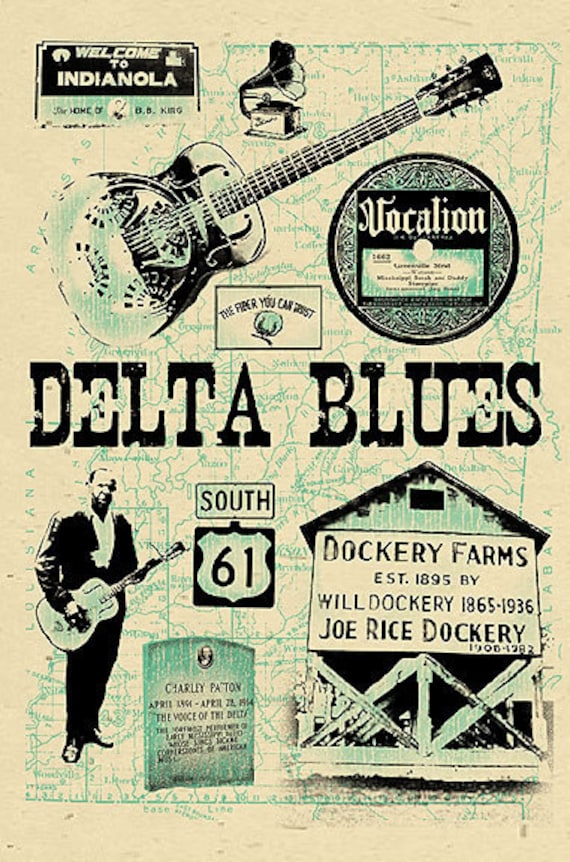 delta blues poster signed by grego 12x18 by mojohandblues. Black Bedroom Furniture Sets. Home Design Ideas