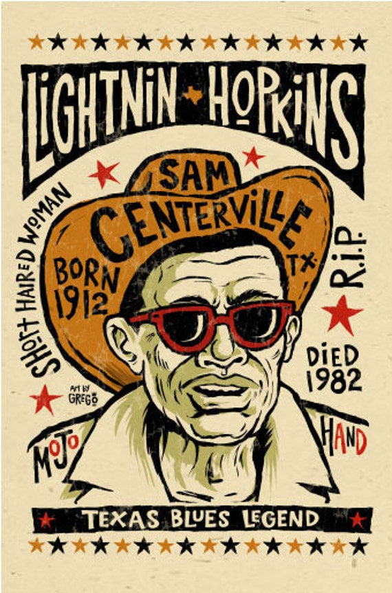 "Lightnin Hopkins Poster- signed by Grego - digital - blues folk art - big 12""x18"" - mojohand.com"