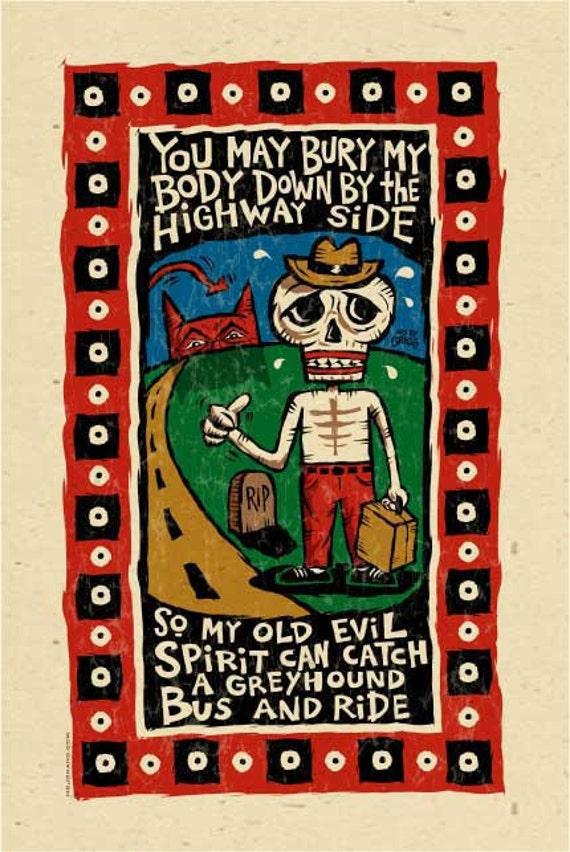 "Blues Music Folk Art poster- signed by Grego - mojohand.com 12""x18"" big"