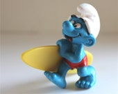 Vintage smurf figure - Surfer Smurf toy- 1981 - collectible