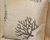 Pillow Cover - Taupe Tree Accent in Cotton-Linen-Hemp