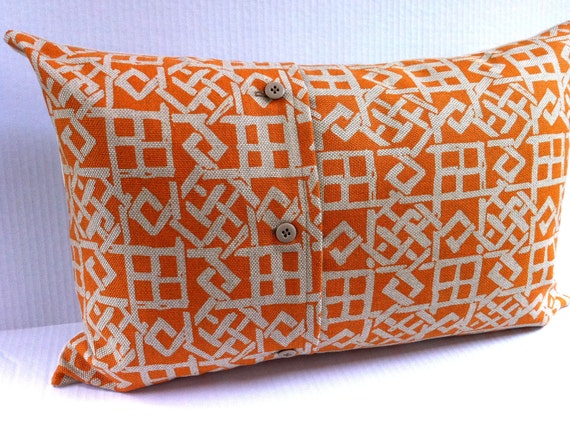 Decorative Pillow Cover - Large Lumbar Throw Pillow - Orange and Beige Texture Dream with Reversed Side - Cushion