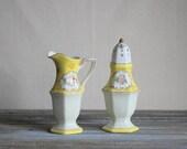 Sugar Shaker Creamer Pitcher Set Yellow White Pink Gold Vintage Noritake