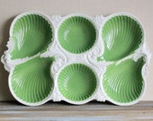 Hors d Oeuvres Tray Ceramic Serving Platter Green White Chip Dip Dish Shabby And Chic