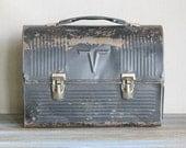 Vintage Lunch Pail Box Black Industrial Storage