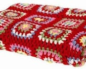 Hand crochet red trimed granny square 64 x64 square throw blanket afghan made to order