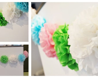 PomPom garland - your colors/ bunting / party decorations / Tissue Paper  pom poms  /  pom garland / wedding party pompoms /  birthday decor