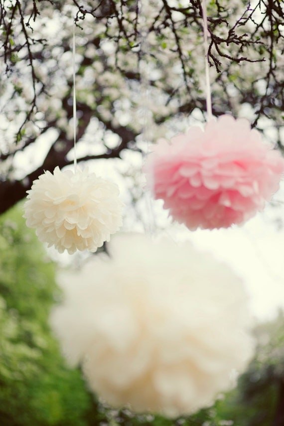 12 LARGE and 6 SMALL Tissue paper pom poms - wedding decorations/ pick your colors from 64 shades - very fluffy
