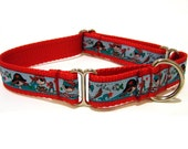 "Martingale Red Dog Collars 1"" Pirate Dog Collar"