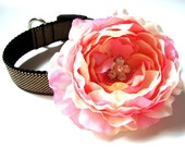 Dog Collar Flower Add-On for Your Custom Dog Collar Pink and Cream