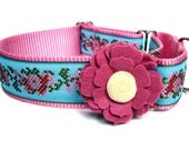 """Martingale Dog Collar Victorian Pink Flower 1.5"""" matching flower available"""