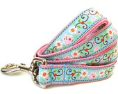 "Pink Dog Leash 1"" Owls and Flowers Pink Dog Leash"