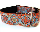 "Martingale Dog Collar Taj Mahal Orange and Blue 1.5"" Martingale"