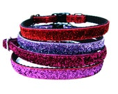"Small Dog Collar 3/8"" Glitter Dog Collar in Pink, Red, and Purple"