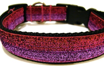 "Glitter Dog Collar Pink, Purple, and Red 1"" Side Release"
