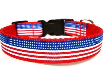 July Dog Collar American Flag Dog Collar SIZE LARGE