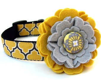 Dog Collar Flower Add-On Yellow and Grey Felt Dog Collar Flower