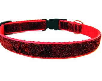 "Red Bling Dog Collar 5/8"" Small Breed Dog Collar Glitter Dog Collar"