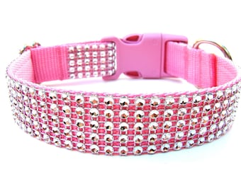 Rhinestone Dog Collar Silver and Pink