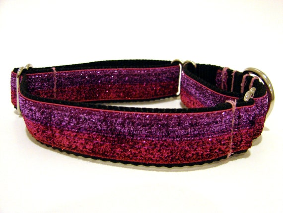 Martingale Dog Collar Red Pink Purple Glitter Collar 1""
