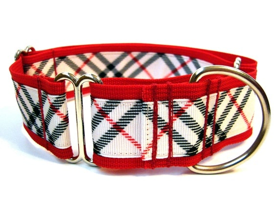 "Martingale 1.5"" Plaid Dog Collar Red Plaid Dog Collar"