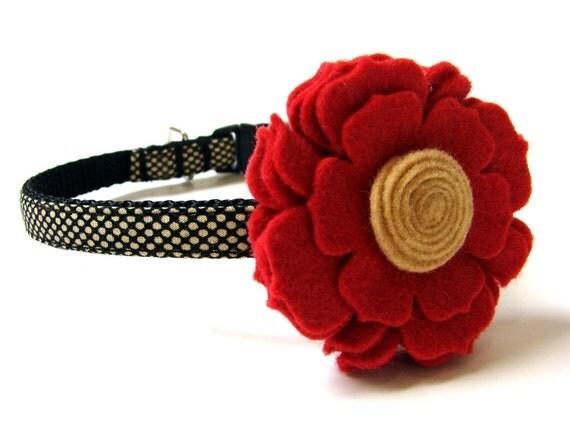 "Polka Dots Dog Collar Small Dog Collar 3/8"" Matching Dog Collar Flower Available"