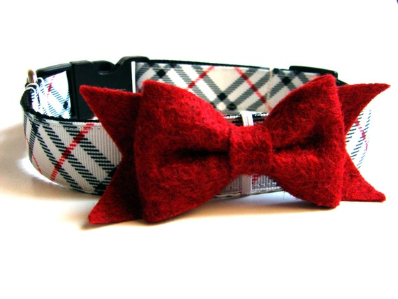 Red Dog Collar Bow Add-On to Dog Collar or Bow tie