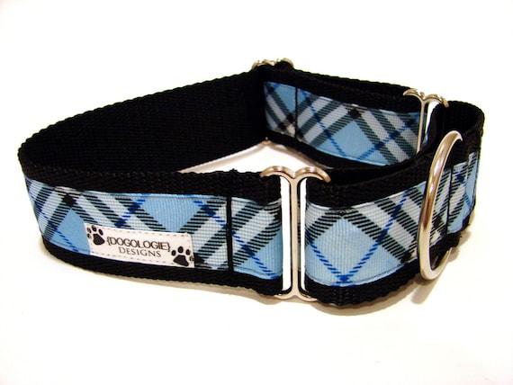 "Martingale Dog Collar 1.5"" Blue Plaid Dog Collar"