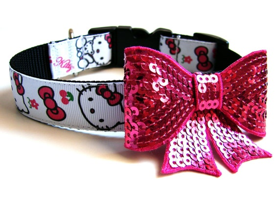 Pink Hello Kitty Dog Collar Comes with Matching Pink Bow