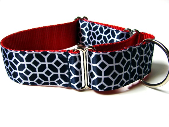 Red White and Blue Dog Collar Martingale Dog Collar 1.5""