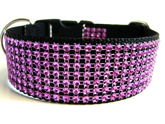 "Pink Rhinestone Dog Collar 1.5"" Side Release Dog Collar"