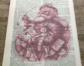 Santa Art Print on Vintage Dictionary Book Page - 6 1/2 X 9 3/4