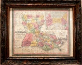Louisiana State Map Print of an 1853 Map on Parchment Paper