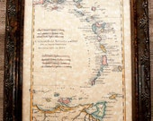 Islands of the Antilles Map Print of a 1780 Map on Parchment Paper