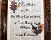 A Page in Time Design Halloween Quote Art Print on Dictionary Book Page