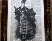 Victorian Halloween Costume (Batgirl) Art Print on Dictionary Book Page