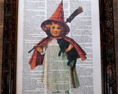 Halloween Child Witch Art Print on Dictionary Book Page