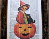 Halloween Child Witch on Pumpkin Art Print on Dictionary Book Page