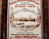 European Shipping Advertisement Art Print on Parchment Paper