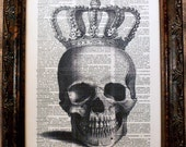 A Page In Time Design Crowned Skull Art Print on Dictionary Book Page