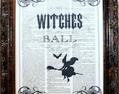 Witches Ball Halloween Art Print on Dictionary Book Page