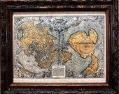 Double Cordiform World Map Print of a 1531 Map on Parchment Paper
