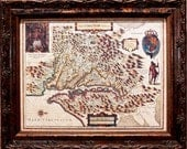 Virginia and Chesapeake Bay Map Print of a 1630 Map on Parchment Paper